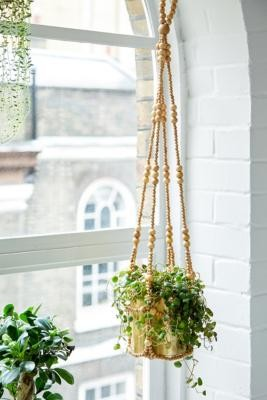 Urban Outfitters Beaded Hanging Planter - Beige ALL at