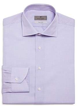 Canali Ribbon Check Regular Fit Dress Shirt