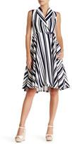 Gracia Striped Faux Leather Wrap Dress