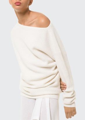 Michael Kors Collection Off-Shoulder Cashmere-Blend Shaker Sweater