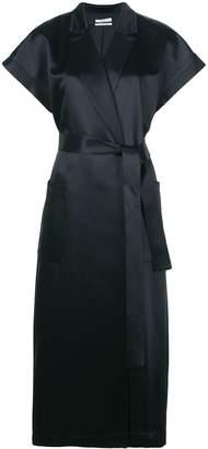 Co boxy-fit satin wrap dress