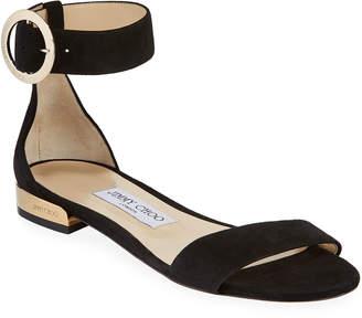 Jimmy Choo Jaime Flat Suede Ankle-Strap Sandals