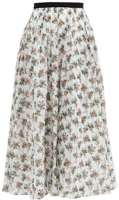 Emilia Wickstead Alula Floral-print Cotton-voile Skirt - White Multi
