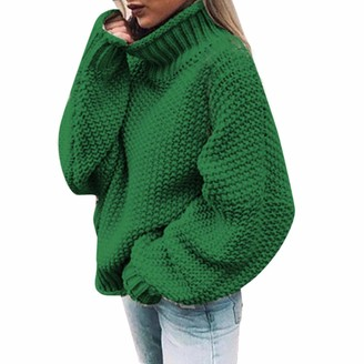 Youngaa Oversize Turtleneck Knitted Sweater Winter Knitwear Plus Size Slim Solid Green Orange White Warm Casual Sweater Women