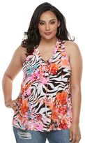 JLO by Jennifer Lopez Plus Size Zebra Lace-Up Tank Top