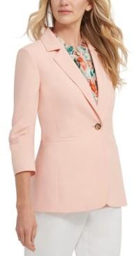 DKNY Petite Ruched-Sleeve Blazer