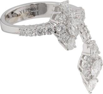 YEPREM White Gold And Diamond Fusion Of Dreams Drop Petal Ring