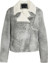 McQ by Alexander McQueen Distressed shearling biker jacket