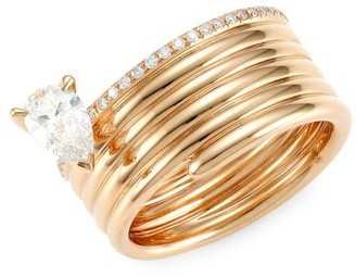 Repossi Blast 18K Rose Gold & Diamond Stacked Ring