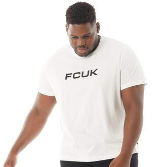 French Connection Mens Plus Size Chest T-Shirt White/Black