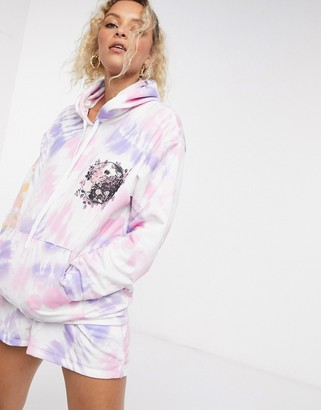 Another Reason oversized hoodie in tie dye co-ord