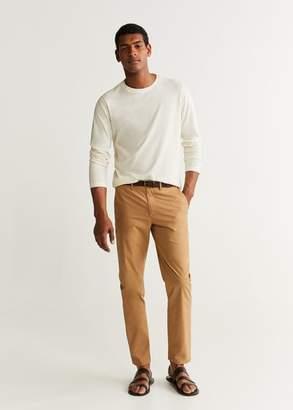 MANGO MAN - Long sleeve cotton t-shirt off white - XS - Men