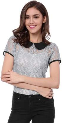 Unique Bargains Women's Semi Sheer See Through Peter Pan Collar Lace Top L White
