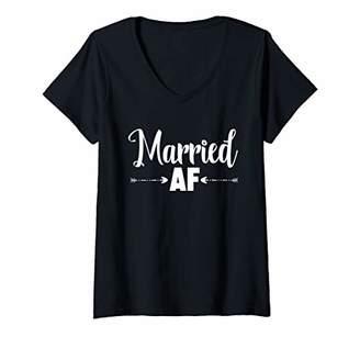 Womens Married AF shirts wife husband honeymoon Gifts V-Neck T-Shirt