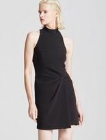 Halston Mock Neck Drape Front Dress