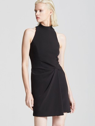 Halston Mock Neck Drape Front Dress