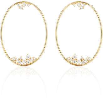Mizuki Large Oval Diamond Drop Earrings