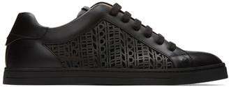 Fendi Black Leather Logo Sneakers