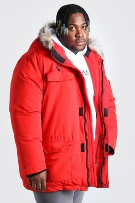 boohoo Mens Red Plus Size Faux Fur Hooded Arctic Parka, Red
