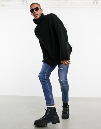 ASOS DESIGN oversized funnel neck sweater in black