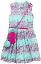 Beautees Lace Belted Dress with Accessory Bag (Big Girls)