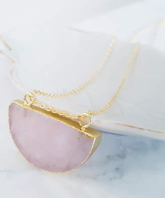 Divine Karma Women's Necklaces Pink - Rose Quartz & 14k Gold-Plated Half Moon Pendant Necklace