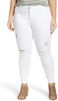 Plus Size Women's Caslon Ripped Stretch Skinny Ankle Jeans