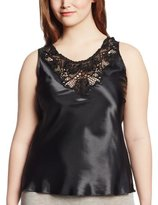 Cinema Etoile Women's Plus-Size Charmeuse Camisole with Medallion Lace