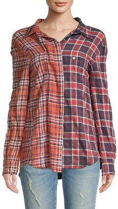 R 13 Off-Shoulder Two-Tone Plaid Shirt