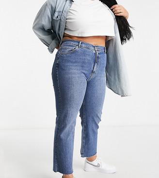 ASOS DESIGN Curve high rise stretch 'effortless' crop kick flare jeans in mid vintage blue