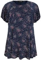 Yours Clothing YoursClothing Womens Ditsy Floral Peplum Top With Frill Angel Sleeves Plus Size