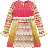Missoni Yellow, pink and ivory knit dress with long sleeves