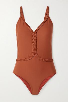 Johanna Ortiz Cape Code Braid-trimmed Swimsuit - Brick