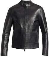 Emporio Armani Faux Crocodile Leather Jacket