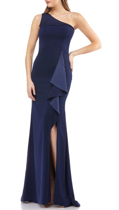 Carmen Marc Valvo One-Shoulder Ruffle-Trim Gown with Slit