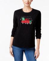 Karen Scott Holiday Graphic Fleece Sweatshirt, Only at Macy's
