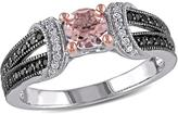 Ice Sofia B 3/4 CT TW Morganite Sterling Silver Ring with Diamond Accents