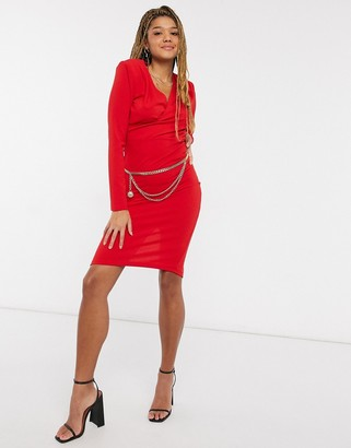 Girl In Mind wrap detail midi pencil dress with gold belt detail in red