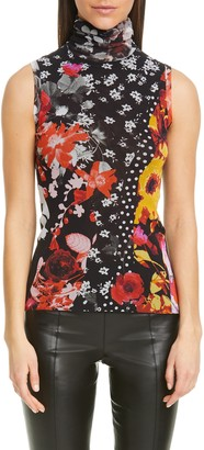 Fuzzi Floral & Dot Sleeveless Turtleneck Top