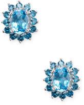 Effy Women's 14K White Gold Blue Topaz Earrings
