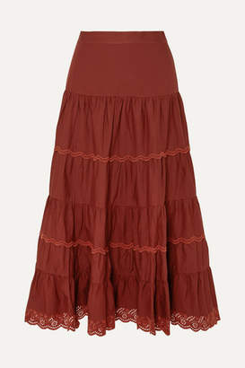 Ulla Johnson Fleet Tiered Broderie Anglaise-trimmed Cotton-poplin Midi Skirt - Burgundy