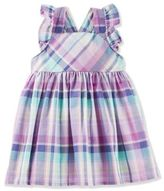 Osh Kosh Size 18M 2-Piece Plaid Flutter Sleeve Dress and Diaper Cover Set in Purple