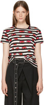 Proenza Schouler Pink & Black Floral Stripe T-Shirt