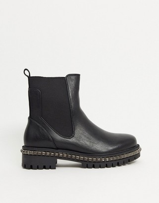 Simmi London Reye chunky flat ankle boots with studding in black