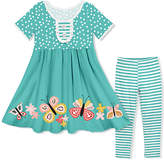 Millie Loves Lily Girls' Casual Dresses Butterfly - Turquoise Polka Dot Button-Front A-Line Dress & Stripe Leggings - Toddler & Girls