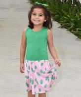 Beary Basics Pink & Green Banana Leaves Drop-Waist Dress - Toddler & Girls