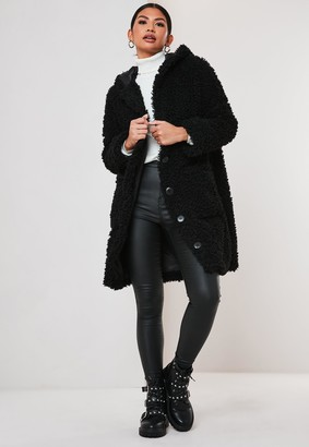 Missguided Petite Black Hooded Borg Teddy Coat
