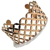 Goldmajor Stainless Steel Lady's Cuff Bangle in Lattice Design Finished Off with Gold Colour PVD Coating of 6cm