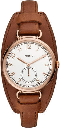 Fossil Women Josey Brown Leather Strap Watch 34mm