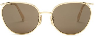 Celine Round Metal Sunglasses - Womens - Brown Gold